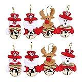 Hukz 8PC Weihnachten Hauptlieferungs-Dekorations-Baum-Verzierungen Kleine Bell-Geschenke,8PC Christbaumschmuck Weihnachtsglocken (Rot)