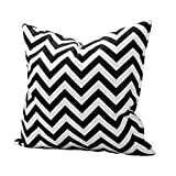 Laat - Fodera per cuscino con semplice geometria a motivi ondulati, per divano, decorativa, 50x 50cm, Cotone, Nero , 50x50cm