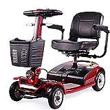 Älterer Roller, Faltbarer Elektrischer Roller, Behindertes Älteres Vierrädriges Elektrofahrzeug,E-Mobil, Seniorenfahrzeug, Belastbarkeit 100Kg,Red
