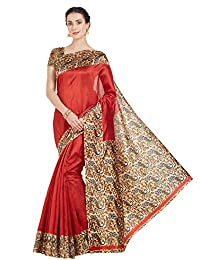 Oomph! Women's Art Silk Sarees Party Wear/Printed Art Silk Sarees - Crimson Red