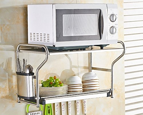GRY 304 Edelstahl Küche Regale Wand Hängen Mikrowelle Regal Schüssel Ablauf Wasser Rack Ofen Lagerung Regale 2 Schicht,Doppel Box - Box Halogen-wand