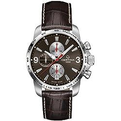 Certina C001.427.16.297.00 - Reloj para hombres, correa de cuero color negro