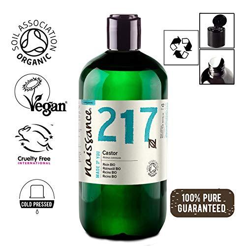 Naissance Rizinusöl BIO (Nr. 217) 500ml - kaltgepresst, rein, natürlich, BIO zertifiziert, vegan, hexanfrei, gentechnikfrei - pflegt Haare, Wimpern und Augenbrauen
