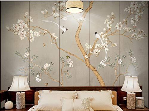 Carta Da Parati Adesiva Muro 3D Mano Dipinto Cinese Magnolia Affreschi Di Fiori E Uccelli Fotomurali 3D Photo Wallpaper Moderna Murale