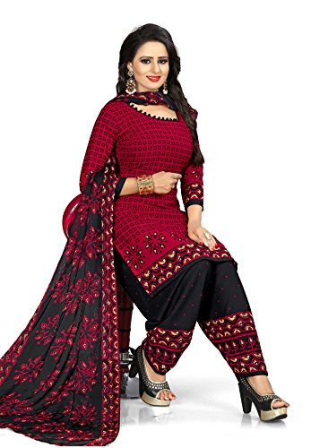 Salwar Studio Women's Maroon & Black Synthetic Printed Dress Material with Dupatta(OM-0031148_Free...