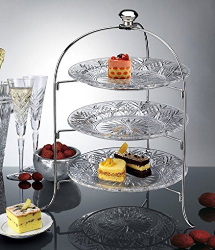 3 Tier Round Serving Platter, Three Tiered Cake Tray Stand, Food Server Display Plate Rack, Crystal Clear, With silver stand, Dessert Server Stand/ Cupcake Tower / Appetizer Serving Tray by Le'raze Clear Plate Stand