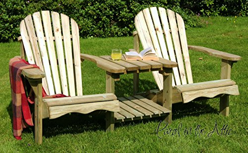 Murcia Solid Wood Outdoor Adirondack Chair Garden Patio Wooden Rocker Rocking Furniture (Double Chair) - 10 Year warranty against rot