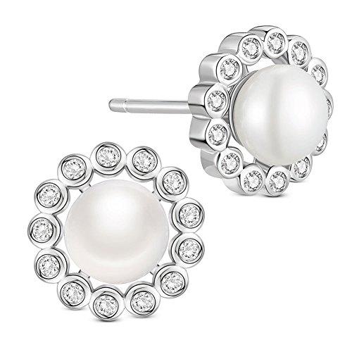 SWEETIEE - Clous d'Oreille en Argent 925 Sterling, Fleur Pave Zircon Orne de Perle d'Eau Douce, Platine, 9mm Blanc