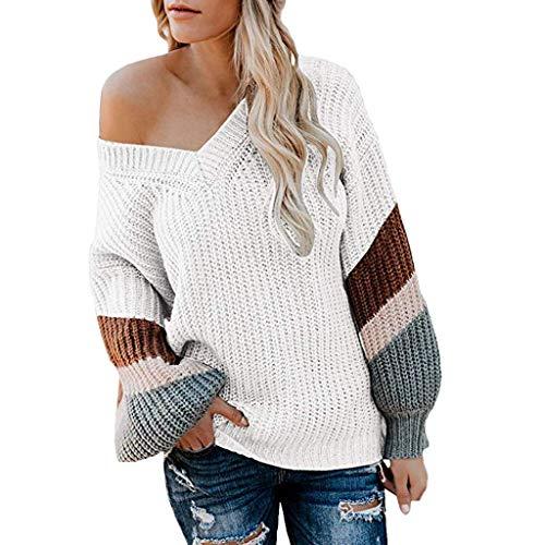 Alwayswin Damen Stricken Pullover Loose Mode Sweater Herbst Winter Warmer Sweatshirt Langarm Oberteile Strickpullover Casual Baumstickerei Bluse Top (Red Tutu M&m Teen Kostüm)