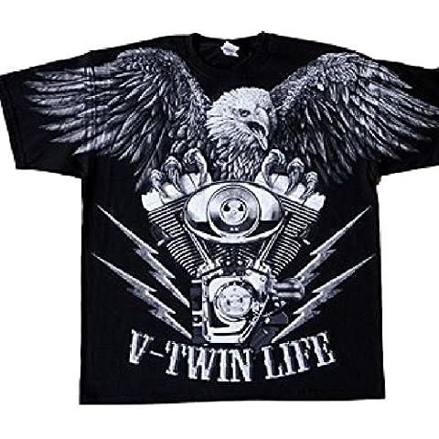 V-Twin Life Loud Pipes save Lives manga corta camiseta del motorista de los hombres, 2XL