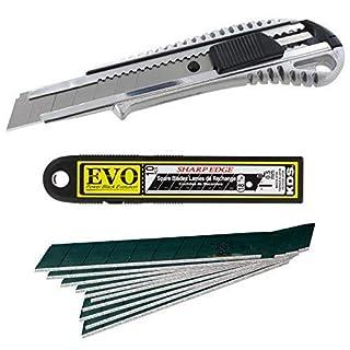 Cuttermesser Metall 18mm + Japanklingen KDS 18mm 10 Stück Power Black extrem scharf
