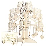 Delicacydex Hochzeit Gästebuch Baum Besuch Zeichen Gästebuch Holz Herzen Anhänger Tropfen Ornamente Für Hochzeitsfest-Dekoration Lieferungen - Holz