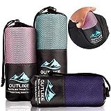 Outlike Mikrofaser Reisehandtuch 2er Set - Leichte Schnell Trocknende Antibakterielle Handtücher für Fitnessstudio und Sport in Kompakter Größe (Türkis)