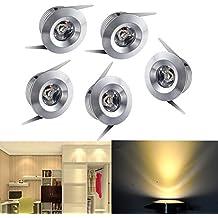 midore 5Mini Pequeño Foco mini spot empotrable LED 3W Blanco Cálido de aluminio con Transformer