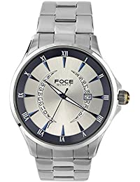FOCE Silver Round Analog Wrist Watch for Men with Silver Metal Strap - F813GSM-BLUE