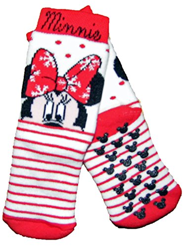 Girls Minnie Mouse Slipper Socks Gripper Soles 0-2.5 3-5.5 6-8.5 9-12