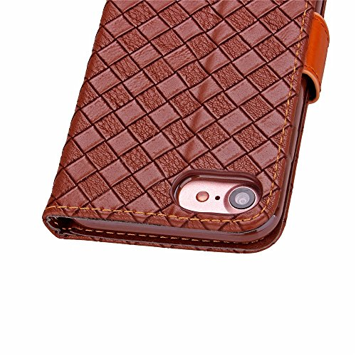 iPhone Case Cover Weaving Pattern PU TPU lederne Fall-Abdeckung mit Foto-Fenster-Handschlaufe-Karten-Bargeldschlitz-Standplatz-Fall für IPhone7 ( Color : Red , Size : IPhone 7 ) Beige