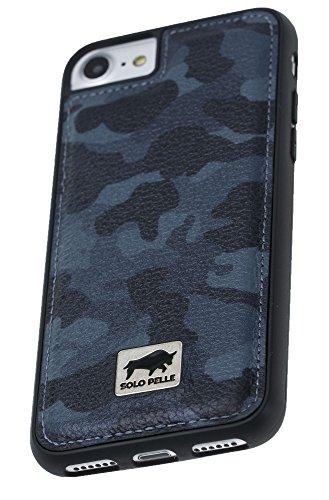 "Solo Pelle iPhone 7 / 8 Case Lederhülle Ledertasche Backcover "" Flex "" aus echtem Leder mit Kroko-Prägung in Schwarz inkl. edler Geschenkverpackung Camouflage Blau"