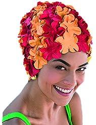 Fashy Bonnet de bain à pétales Rouge Orange Floral Vintage Bonnet de bain  pour femme