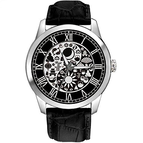 Chinesische Yin Yang Bilder sehr Symbolische Unisex 40mm massiv Messing Armbanduhr