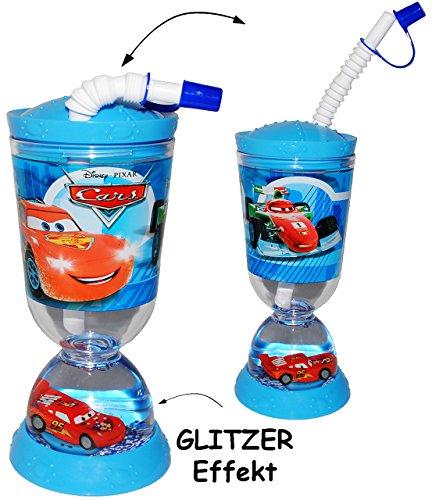 """Trinkbecher / Trinkflasche - GLITZERBECHER - """" Disney Cars - Auto Lightning McQueen """" - mit Strohhalm & Deckel - 300 ml - mit Wasser & Glitter - Becher / Sommerglas - Trinklernbecher - Plastikbecher - z.B. Limonade Erfrischung Sommer - Smoothie Becher Trinkglas Trinkflasche - Trinkgläser Einmachglas / Einweckglas - Kinder - Mädchen & Jungen - Glasbecher - Autos Mc Queen"""
