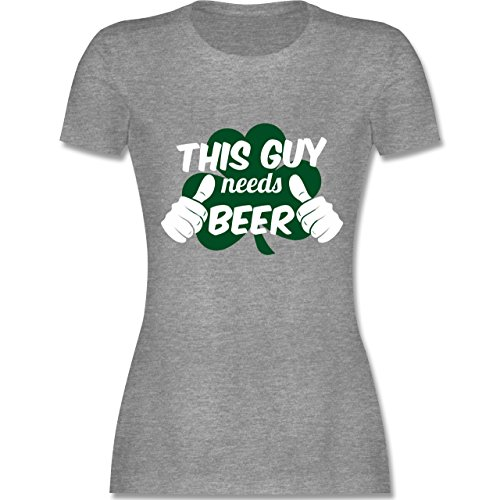 Shirtracer St. Patricks Day - This Guy Needs Beer Kleeblatt - Damen T-Shirt Rundhals Grau Meliert