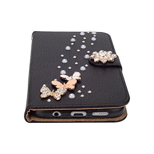 Galaxy S7 Hülle,Grandoin® Bling Diamant Schmetterling Handyhülle im Brieftasche-Stil für Samsung Galaxy S7 Handytasche PU Leder Flip Cover Book Case Schutzhülle mit [aktualisierter TPU Innenschale] [A Schwarz
