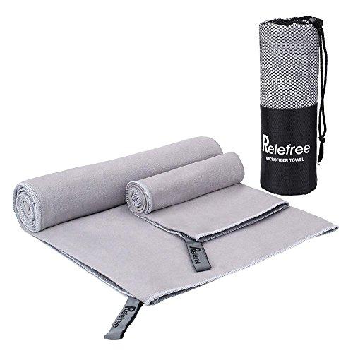 Relefree 2 Pezzi di Asciugamani in Microfibra da Palestra, Spiaggia, Sportive, Viaggio o Campeggio ( Grigio, 150*75cm E 60*40cm)