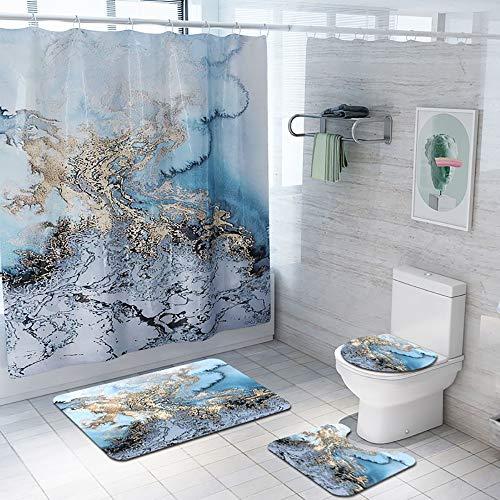 nge Teppiche 4Er Set,Duschvorhang Bad & Pedestal Rug & WC Sitzbezug & Badematte,rutschfeste wasserdichte Bad-Accessoires Home Décor ()