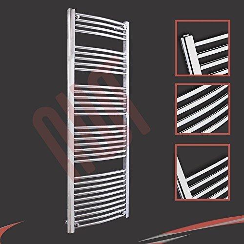 600mm (w) x 1600mm (h) - Radiateur sèche-serviettes incurvé chromé Barre Horizontale Diamètre: 22mm, Bar Modèle: 4 + 5 + 6 + 7 + 10