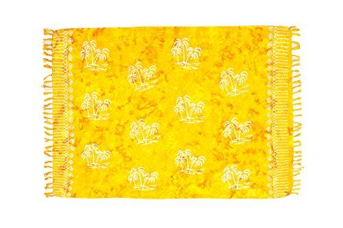 ManuMar Damen Sarong Blickdicht   Pareo Strandtuch   Leichtes Wickeltuch in Gelb mit Palmen-Motiv mit Fransen/Quasten   155x115 cm   Sauna-Handtuch   Haman-Tuch   Bikini   Bali
