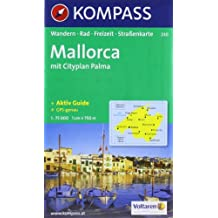 Carte touristique : Mallorca Wanderkarte, Radkarte und Freizeitkarte, mit Citypl Palma de Mallorca, Beil Kompasslexikon