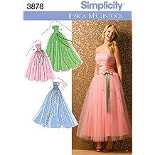 Simplicity 3878 D5 - Patrones de costura para vestidos de fiesta de chica