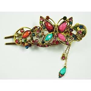 SODIAL(R) Epingle a cheveux pour femme Style antique en bronze Design elegant de papillon en cristal colore