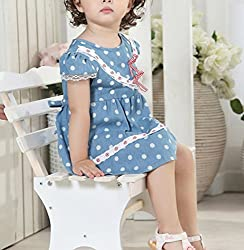 Baby Girl Toddler Kid Princess Party Skirt Polka Dot One-piece Denim Jeans Dress by Angel's Wings