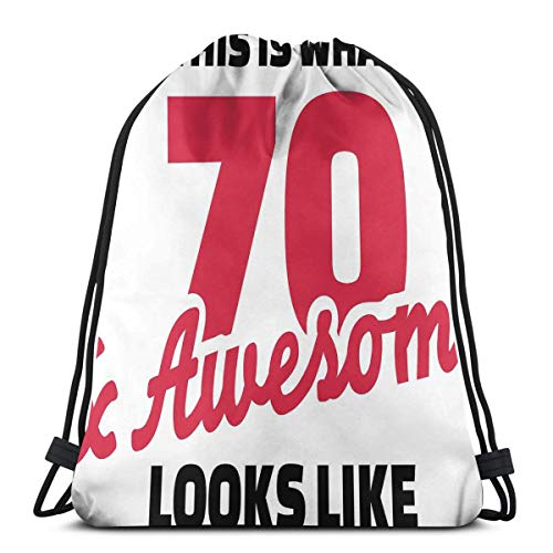 6bcea91ec442 Jiger Drawstring Tote Bag Gym Bags Storage Backpack, Motivational Quote  Seventy and Awesome Birthday,Very Strong Premium Quality Gym Bag for Adults  & ...