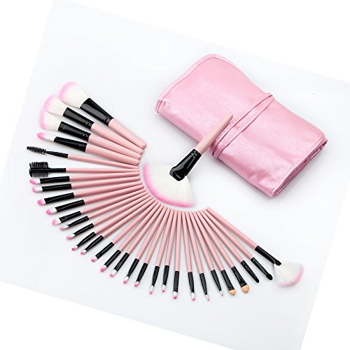Baoblaze Set 32pcs Pinceaux Maquillage Multiples pour Yeux, Nez, Visage - Brosse Make-up pour Fond de Teint, Lip Gloss, Mascara, Contour + Sac de Rangement - Rose