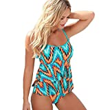 Sannysis - Mujer Traje de Baño, body Push Up Conjuntos, color flor (XL)