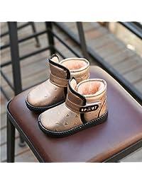 Los Zapatos de Invierno para Niños en el Tubo de Velcro de Algodón Botas Botas de Nieve Gruesa Y Cálida Zapatos a Prueba de Agua,Oro,26