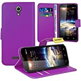 Vodafone Smart 4 Power Handy Tasche, FoneExpert® Wallet Case Flip Cover Hüllen Etui Ledertasche Lederhülle Premium Schutzhülle für Vodafone Smart 4 Power (Lila)