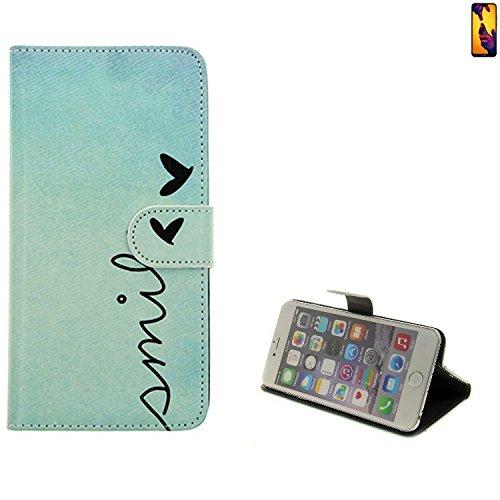 K-S-Trade® für Huawei P20 Lite Dual-SIM Wallet Case Schutz Hülle Flip Cover Tasche ''Smile'', türkis