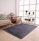 Tomatoa Teppich Shaggy Teppich Moderner glänzender Hochflor Einfarbig Wohnzimmer Velours Teppich Fußmatte Spitzenqualität Lammfellimitat Teppich Sofa Matte (Grau)