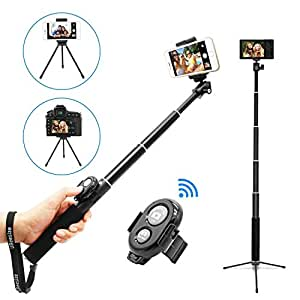 bluetooth selfie stick tripod with remote for iphone 6 camera photo. Black Bedroom Furniture Sets. Home Design Ideas