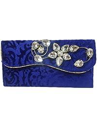 Nirmitee Premium Wedding Velvet Envelope With Stone Work (Blue Colour)