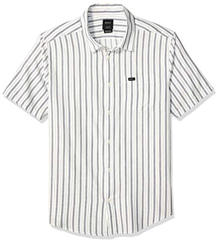 Button-down Woven Dress Shirt (RVCA Herren Shuffle Stripe Short Sleeve Woven Front Shirt Button Down Hemd, Antique/White, XX-Large)