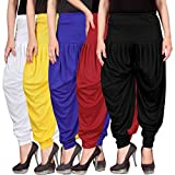 #9: Dhoti pants for womens -Culture the Dignity Women's Lycra Dhoti Patiala Salwar Harem Pants CTD_00WYB1RB_1-WHITE-YELLOW-BLUE-RED-BLACK-FREESIZE -Combo Pack of 5