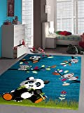 Kinderteppich Spielteppich Kinderzimmer Teppich niedliche bunte Tiere Panda Design Türkis Grün Weiss Grau Pink Orange Rot Größe 120x170 cm