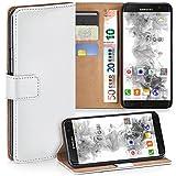 moex Samsung Galaxy S7 Edge | Hülle Weiß mit Karten-Fach 360° Book Klapp-Hülle Handytasche Kunst-Leder Handyhülle für Samsung Galaxy S7 Edge Case Flip Cover Schutzhülle Tasche