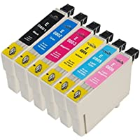 1 Set = 6 Epson T0807 Compatible Printer Ink Cartridges for Epson Stylus Photo R265 R285 R360 RX560 RX585 RX685 P50 PX650W PX700W PX710W PX800FW PX810W Printers (1x Black, 1x Cyan, 1x Magenta, 1x Yellow, 1x Light Cyan, 1x Light Magenta)