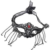 MagiDeal Máscara en Forma Zorro Hecha de Encaje de Color Negro Disfraces para Mujer Mascarada Cosplay - 25 x 11 cm